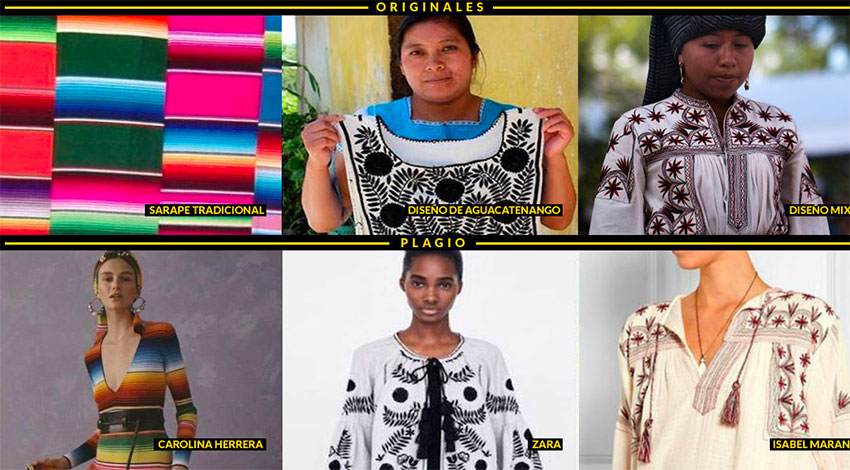 Original designs in the top row and their alleged copies by clothing brands below.