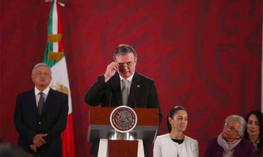 Marcelo Ebrard speaks Monday morning at the president's press conference.