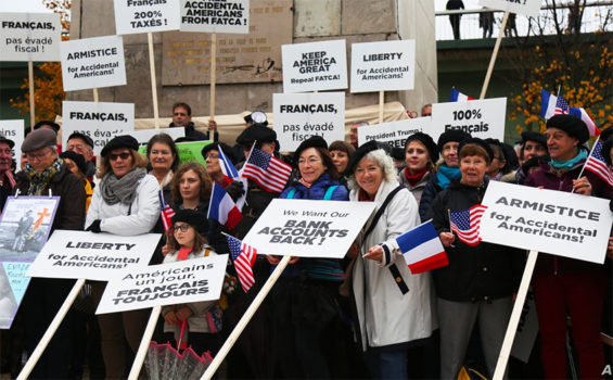 'Accidental Americans' protest tax law in France in June.