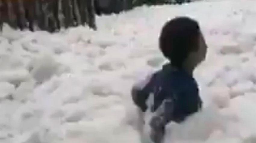 Chest-deep sea foam in Tabasco on Wednesday.