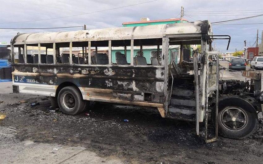 One of the buses set on fire in Juárez.