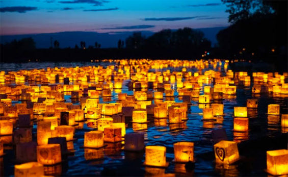 Water lanterns will carry their messages in two locations in December.