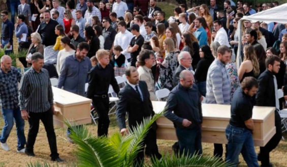 One of the funerals held for the nine people murdered in Chihuahua November 4.