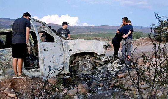 A vehicle in which members of the LeBarón family were killed and burned on Monday.