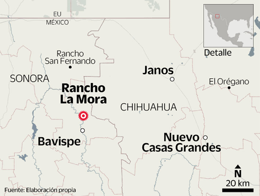 The shooting took place near Rancho la Mora in Bavispe.