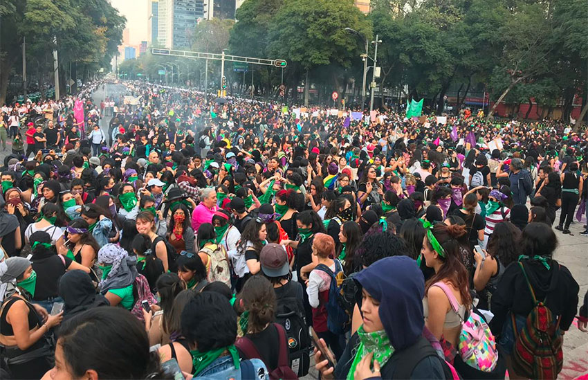 Monday's march in Mexico City was mostly peaceful.