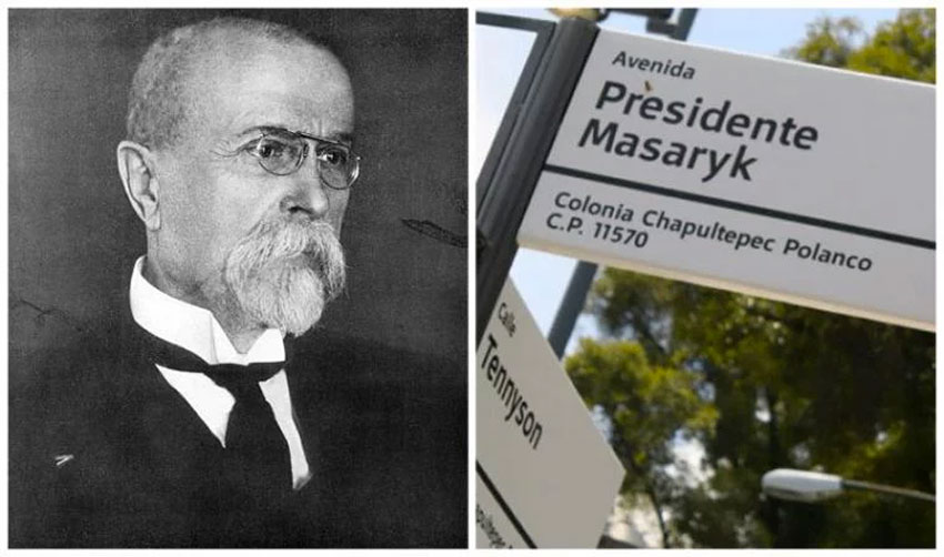 Masaryk, left, and the street that bears his name.