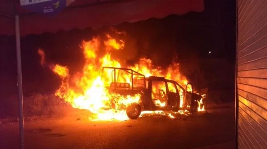 police vehicle burns