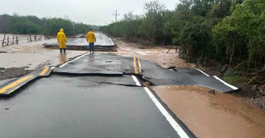 Rains caused highway damage across northern Mexico.