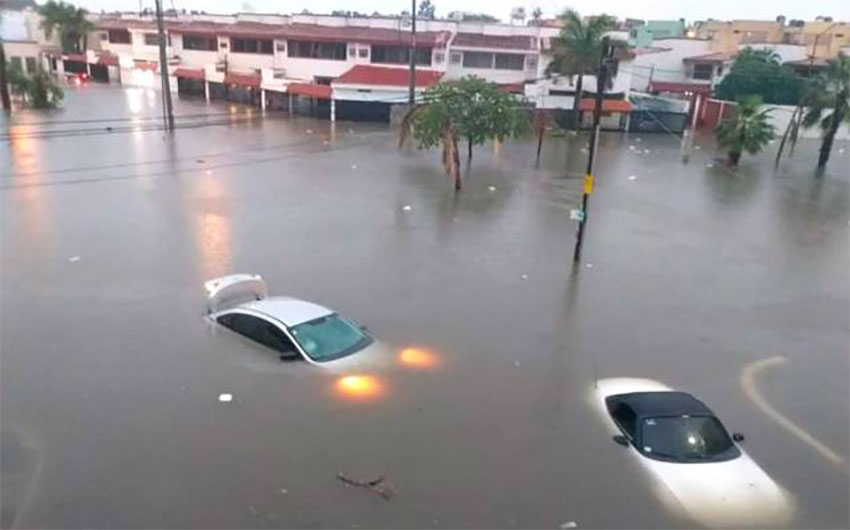 Flooding in Mazatlán on Thursday.