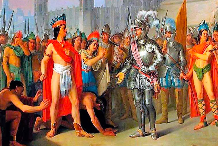 Moctezuma and Cortés in 1519.