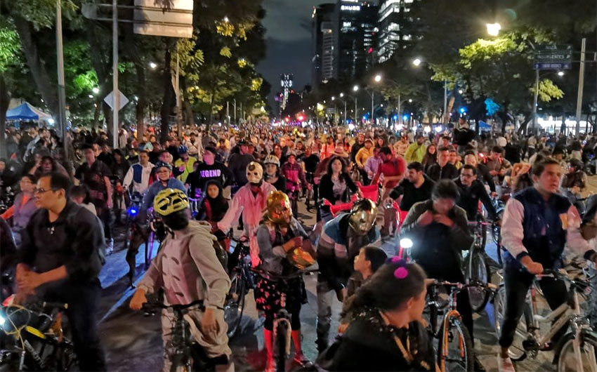 Nighttime riders in Mexico City.