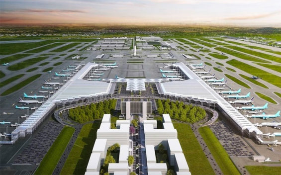 Architect's rendering of the Santa Lucía airport.