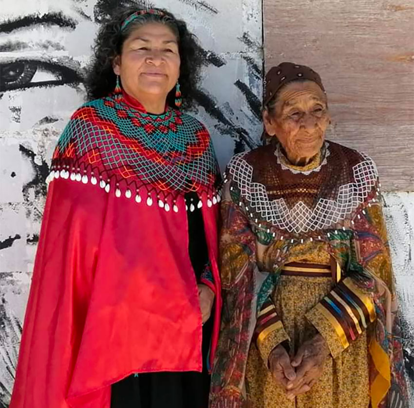 Beaded collar yokes, as made by González, right, have a special place in Cocopah identity.