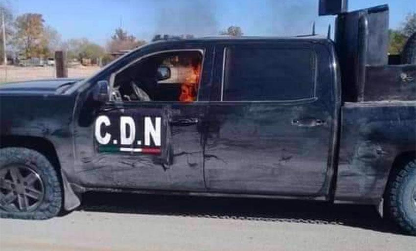 A truck abandoned by cartel in Coahuila gun battle.