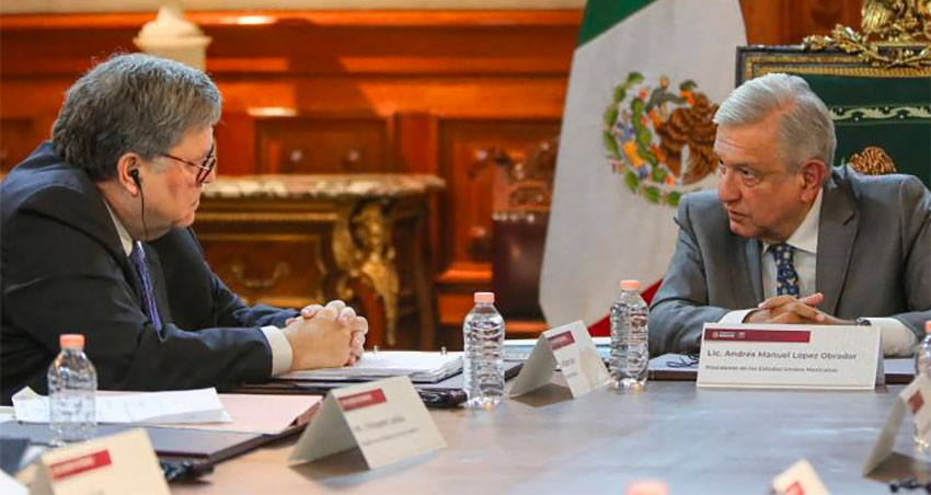 US Attorney General Barr, left, met with López Obrador on Thursday.
