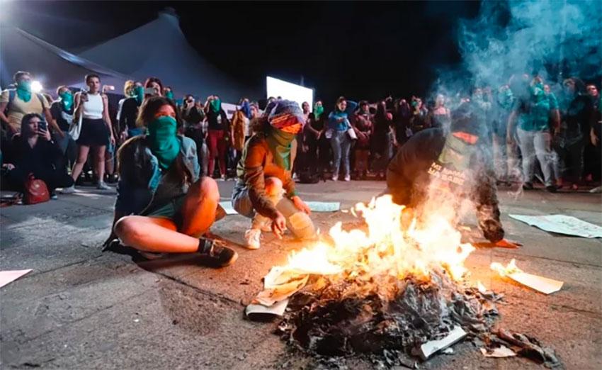 Friday's book-burning at the Guadalajara fair.
