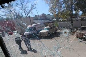 No hugs, just bullets: damage in Villa Unión after Saturday's attack.
