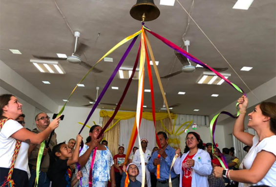 Ringing the cancer-free bell in Chetumal.