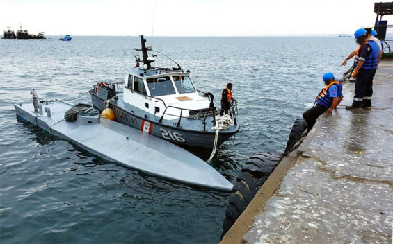 The narco-submarine captured in Peruvian waters.