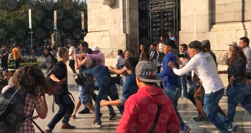 Farmers scuffle with LGBT community during a protest by the former.