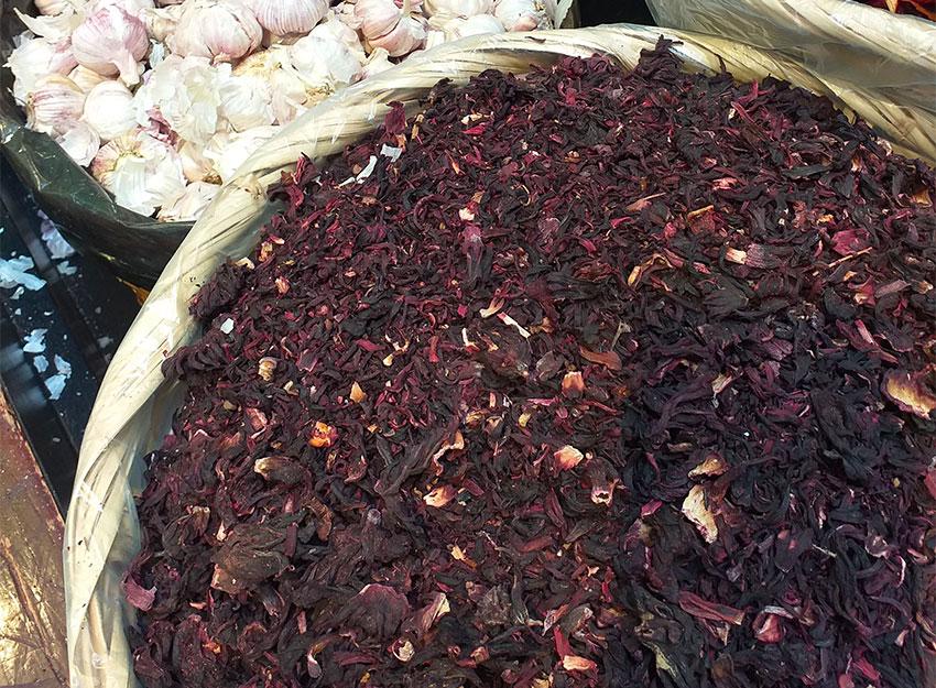 Dried Jamaica flowers.