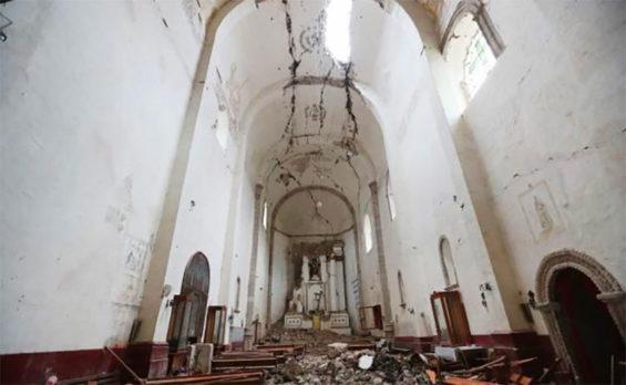 Earthquake damage at the monastery of San Juan Bautista in Tlayacapan, Morelos.