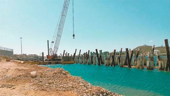 Wharf construction under way in Salina Cruz, Oaxaca.