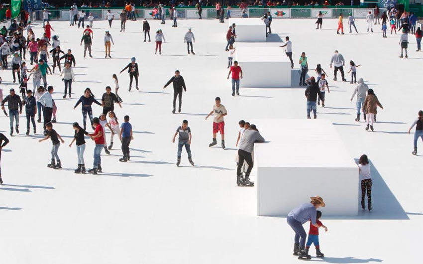 Skaters on the new 'ice' in Mexico City.