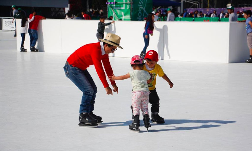 Young skaters on the seasonal rink in Mexico City.