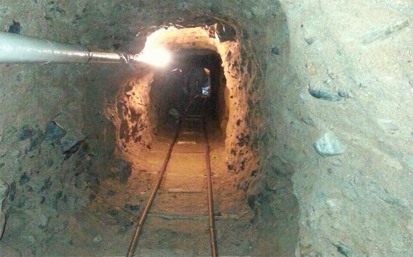 A drug tunnel under the Mexico-US border.