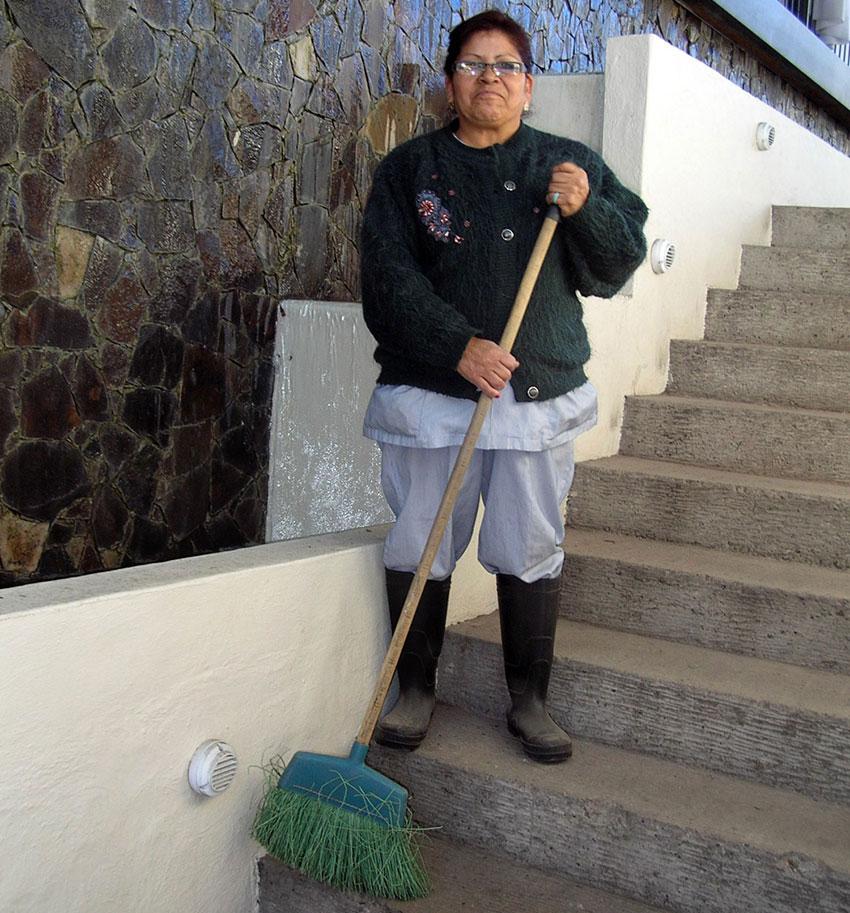 """No leaf blower for me!"" Valentina Ramírez of Guadalajara is happy using a broom."