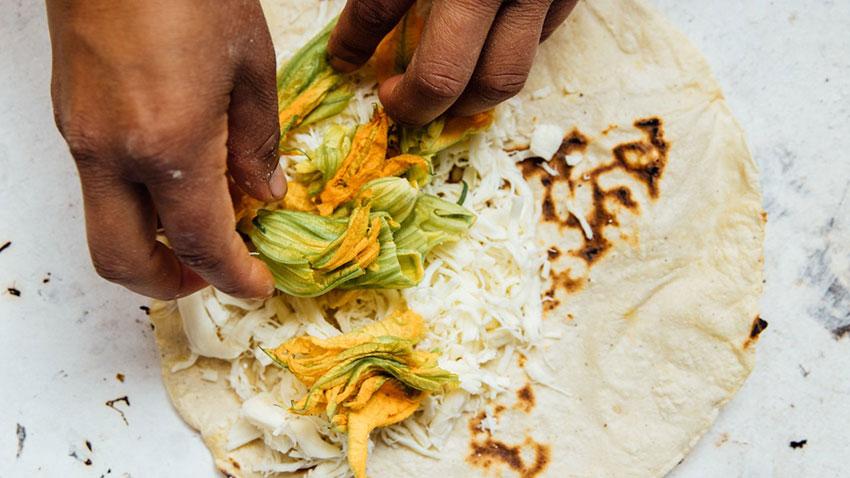 Squash blossoms are a standard addition to quesadillas in Oaxaca.