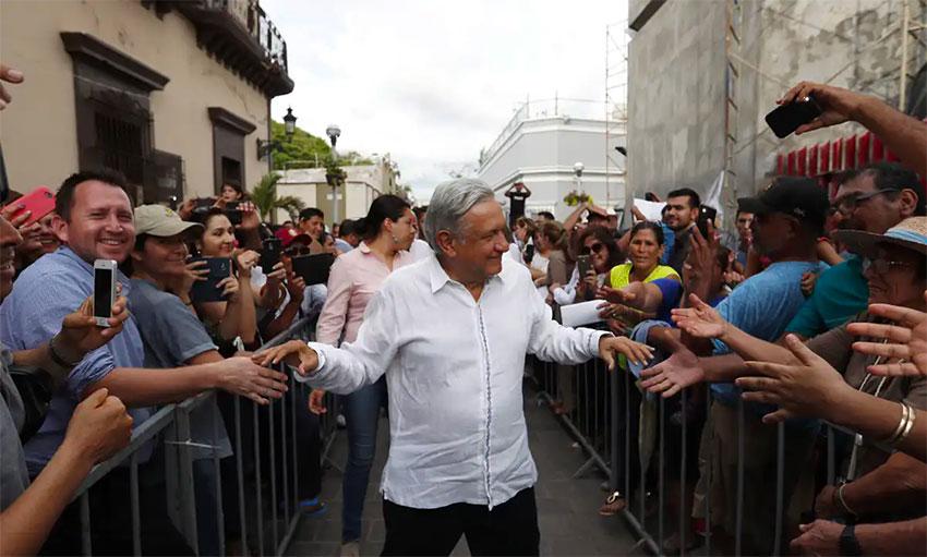 López Obrador greets supporters in Mazatlán.