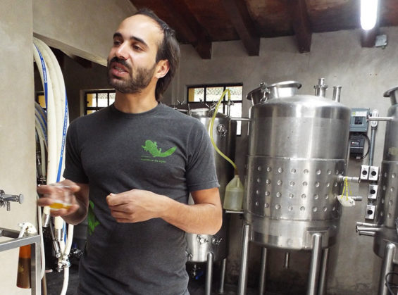 Brewmaster Matías Vera Cruz at Monstruo de Agua brewery near Mexico City.