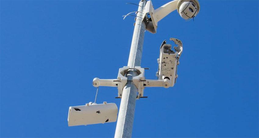 Damaged surveillance cameras in Sinaloa.