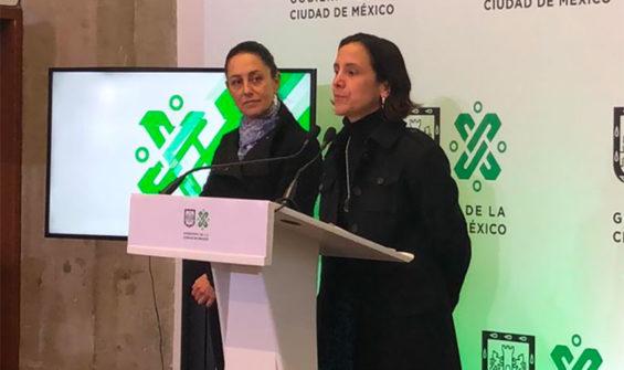Mayor Sheinbaum, left, listens as Finance Secretary Luz Elena González announces spending plans.
