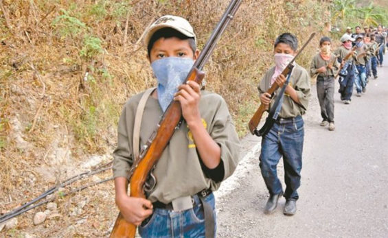 Kids on the march in Guerrero.