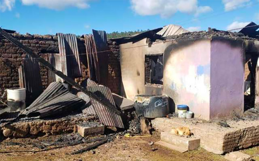 One of 22 houses that were set on fire in Madera, Chihuahua.