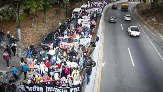Marchers for peace en route to Mexico City.