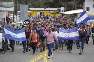 Migrants in Caravan 2020 at the southern border last week.