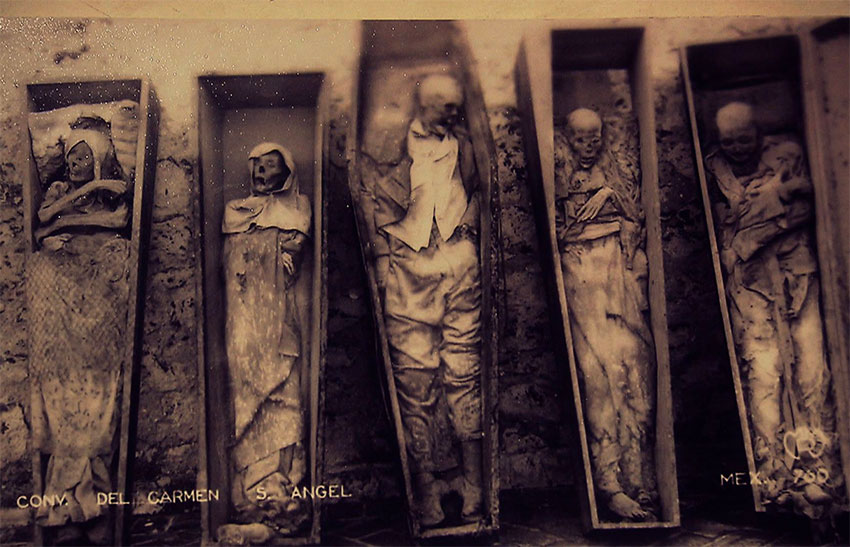 Mummies at the El Carmen Museum in Mexico City.