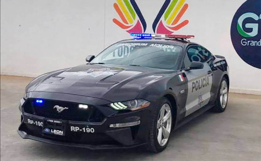 One of two Mustangs in use by San Miguel police.