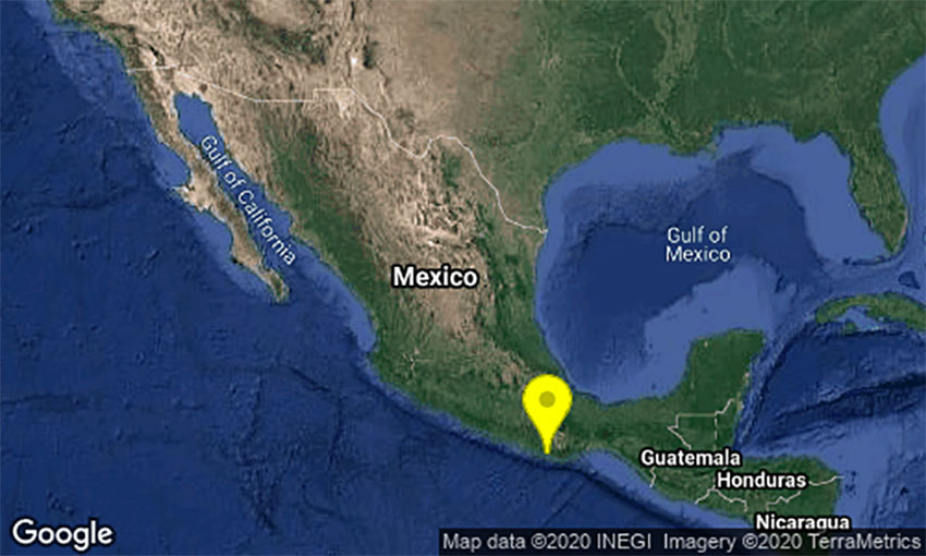 The epicenter of a 5.2-magnitude earthquake Friday morning in Oaxaca.