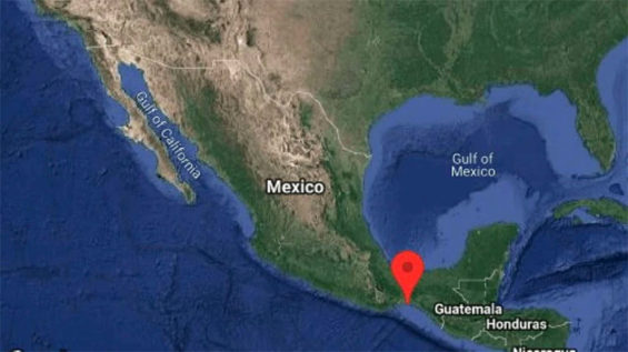 Epicenter of Saturday night's earthquake in southwestern Mexico.