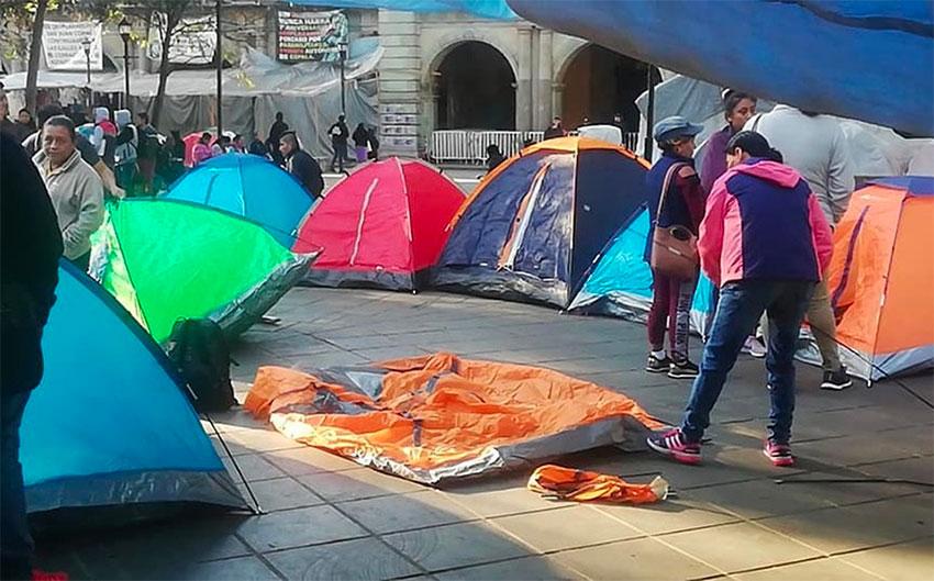 Teachers' tents are back in the Oaxaca city zócalo.
