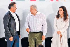 Governor Rodríguez, López Obrador and Labor Secretary Luisa María Alcalde.