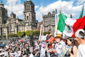 The walk for peace ends its four-day march in the Mexico City zócalo.