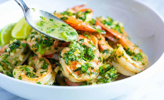 Garlic Cilantro Shrimp: serve with rice or pasta.