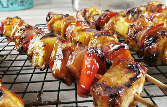 Pineapple and chicken are great together on kabobs.